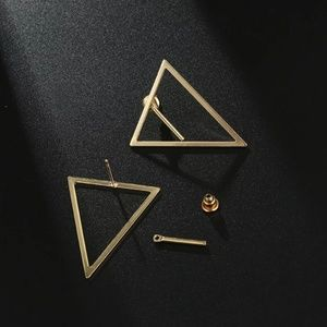 Jewelry - Gold Triangle Geometric Double sided Earrings